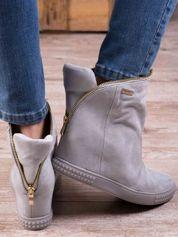 Jasnoszare sneakersy na koturnach Jillie z suwakiem dookoła cholewki