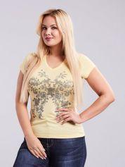 Jasnożółty t-shirt z nadrukiem kwiatowym