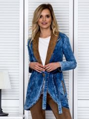 Jeansowa narzutka z zamszowymi wstawkami niebieska