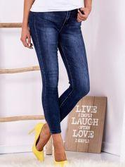 Jeansowe rurki high waist z kokardkami ciemnoniebieskie