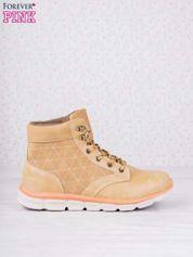 Karmelowe buty sportowe z brązowymi skórzanymi wstawkami