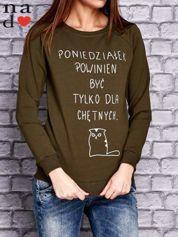 Khaki bluza z napisem PONIEDZIAŁEK POWINIEN BYĆ TYLKO DLA CHĘTNYCH