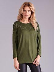 Khaki bluzka damska z aplikacją