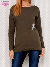 Khaki bluzka z koralikową aplikacją