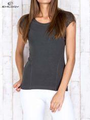 Khaki damski t-shirt sportowy basic