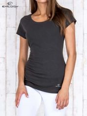 Khaki damski t-shirt sportowy basic PLUS SIZE