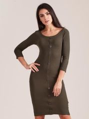 Khaki dopasowana prążkowana sukienka
