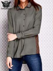 Khaki koszula z haftowanymi wzorami