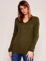 Khaki luźny sweter w serek