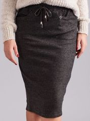 Khaki prążkowana spódnica z kieszeniami