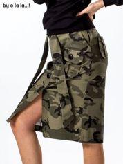 Khaki spódnica moro z kieszeniami i wiązaniem BY O LA LA