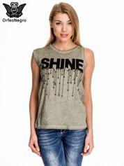 Khaki t-shirt z nadrukiem SHINE z gwiazdkami