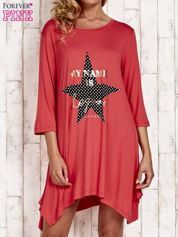 Koralowa tunika dresowa z printem gwiazdy