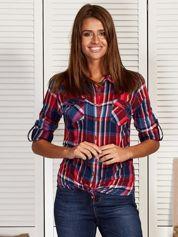 Koszula damska w kolorową kratkę czerwona
