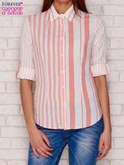 Koszula damska w pionowe paski różowa
