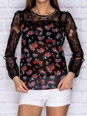 Koszula mgiełka w kwiaty z koronkowymi rękawami czarna