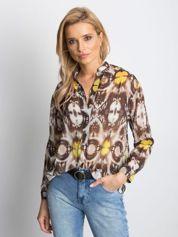 Koszula mgiełka we wzory khaki
