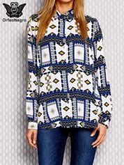 Koszula z geometrycznym nadrukiem i dłuższym tyłem niebieski