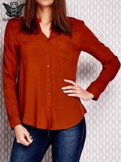 Koszula z haftowanym dekoltem i dłuższym tyłem brązowa