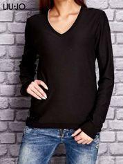 LIU JO Ciemnobrązowy sweter z trójkątnym dekoltem