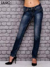 LIU JO Ciemnoniebieskie spodnie jeansowe z prostą nogawką