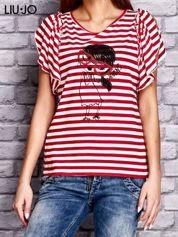 LIU JO Czerwony t-shirt w paski z kobiecym nadrukiem