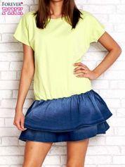 Limonkowa sukienka dresowa z jeansowym dołem