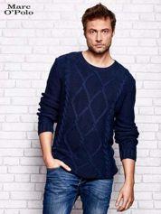 MARC O'POLO Granatowy sweter męski z warkoczowym splotem