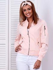 Materiałowa krótka kurtka różowa