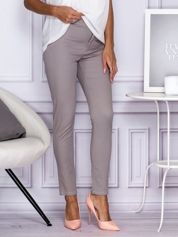Materiałowe spodnie z wąską nogawką szare
