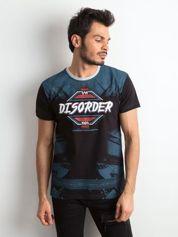 Męski t-shirt z bawełny z printem czarny
