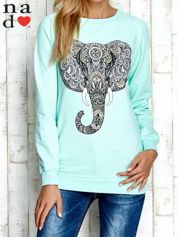 Miętowa bluza z nadrukiem słonia