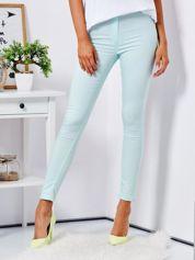 Miętowe dopasowane spodnie high waist