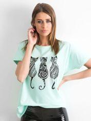 Miętowy t-shirt Kittens