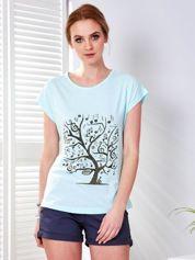 Miętowy t-shirt z muzycznym nadrukiem