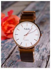 N & K klasyka piękny złoty zegarek męski
