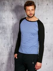 Niebieska bluzka męska z kontrastowymi rękawami