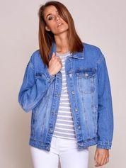 Niebieska damska kurtka jeansowa