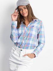 Niebieska koszula w kolorową kratkę