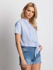 Niebieska koszula w paski wiązana