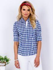 Niebieska koszula we wzór kratki