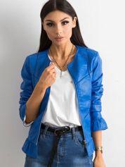 Niebieska kurtka z falbanami