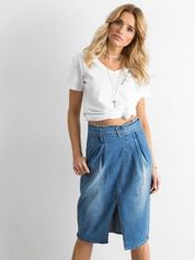Niebieska spódnica jeansowa midi