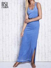 Niebieska sukienka maxi acid wash