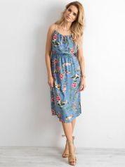 Niebieska sukienka z motywem floral print
