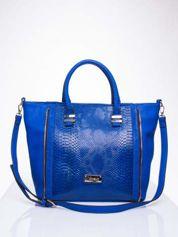 Niebieska torba shopper bag z wzorem skóry węża