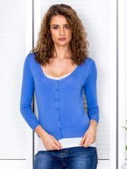 Niebieski sweter damski z guzikami