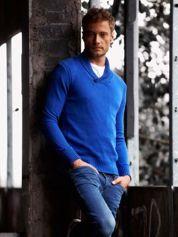 Niebieski sweter męski z kołnierzykiem FUNK N SOUL