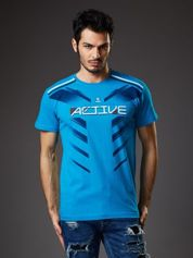 Niebieski t-shirt męski Active