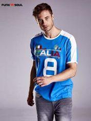 Niebieski t-shirt męski z napisem ITALIA Funk n Soul